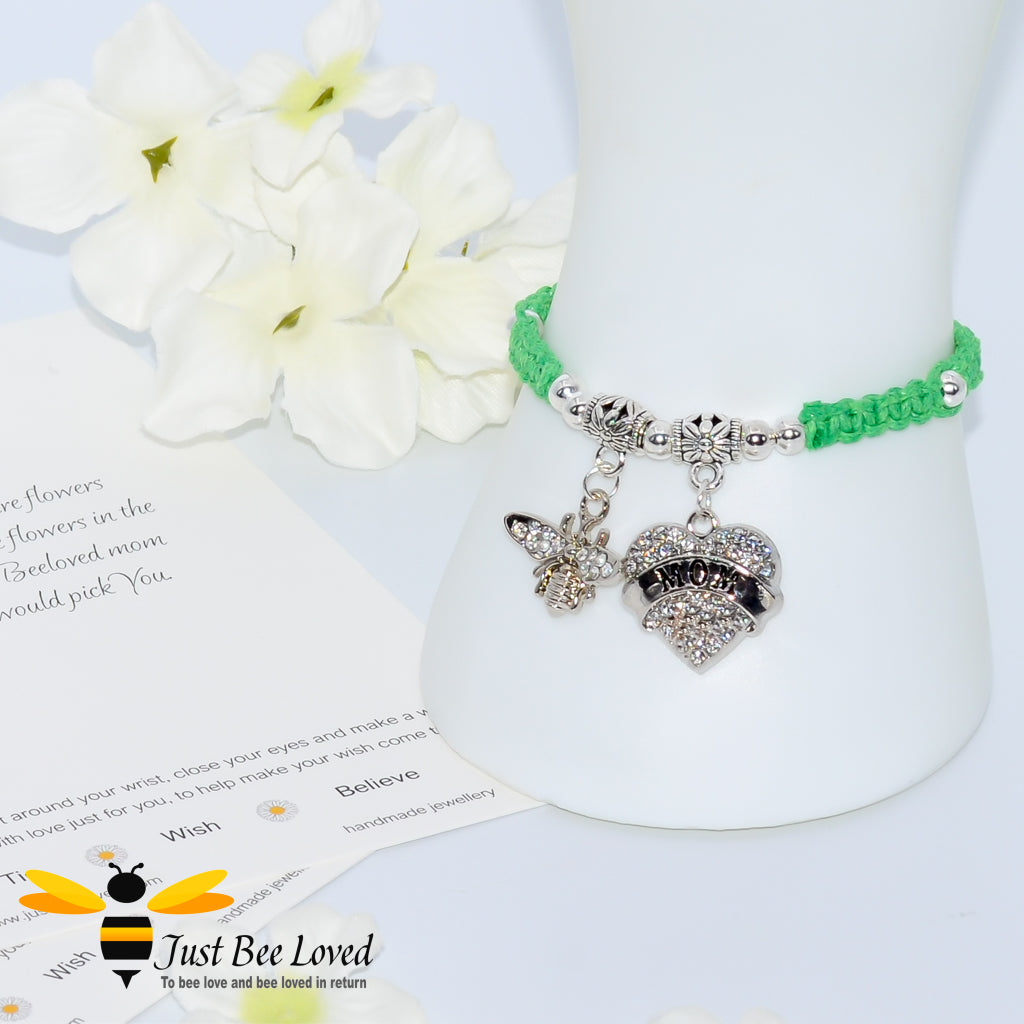 handmade Shamballa wish charm bracelet in green featuring a bee and love heart engraved with