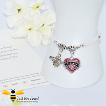 "Load image into Gallery viewer, handmade Shamballa wish mother bracelet in white featuring a bee and pink love heart engraved with ""Mom"" with sentimental verse card"