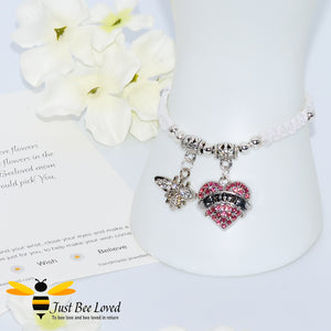 "handmade Shamballa wish mother bracelet in white featuring a bee and pink love heart engraved with ""Mom"" with sentimental verse card"