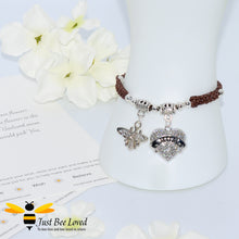 "Load image into Gallery viewer, handmade Shamballa wish mother bracelet in brown featuring a bee and love heart engraved with ""Mom"" with sentimental verse card"