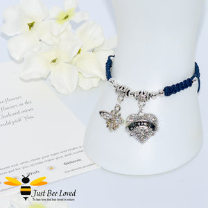 "handmade Shamballa wish mother bracelet in navy featuring a bee and love heart engraved with ""Mom"" with sentimental verse card"