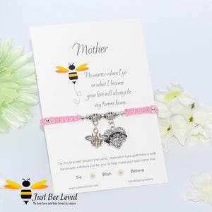 "handmade Shamballa wish mother bracelet in pink featuring a bee and love heart engraved with ""Mom"" with sentimental verse card"