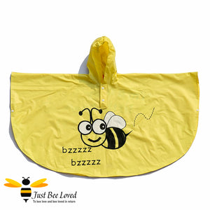 Children's Buzzy Bees Yellow Hooded Poncho Raincoat