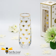 Load image into Gallery viewer, Glittering Queen Bee Glass Stemless Champagne Flute in Matching Gift Box from the Leonardo Collection