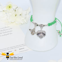 "Load image into Gallery viewer, handmade green Shamballa wish charm bracelet featuring a bee and love heart engraved with ""Sister"" with sentimental verse display card"