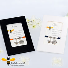 "Load image into Gallery viewer, handmade  Shamballa wish charm bracelets featuring a bee and love heart engraved with ""Sister"" with sentimental verse display cards"