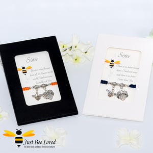 "handmade  Shamballa wish charm bracelets featuring a bee and love heart engraved with ""Sister"" with sentimental verse display cards"