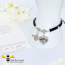 "Load image into Gallery viewer, handmade black  Shamballa wish charm bracelet featuring a bee and love heart engraved with ""Sister"" with sentimental verse display card"