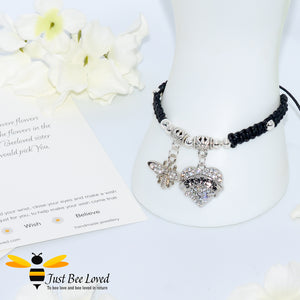 "handmade black  Shamballa wish charm bracelet featuring a bee and love heart engraved with ""Sister"" with sentimental verse display card"