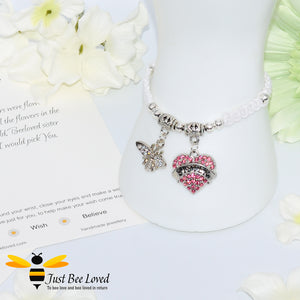 "handmade white Shamballa wish charm bracelet featuring a bee and love heart engraved with ""Sister"" with sentimental verse display card"