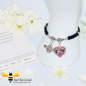 "handmade black Shamballa wish charm bracelet featuring a bee and pink love heart engraved with ""Sister"" with sentimental verse display card"