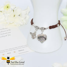 "Load image into Gallery viewer, handmade brown Shamballa wish charm bracelet featuring a bee and love heart engraved with ""Sister"" with sentimental verse display card"