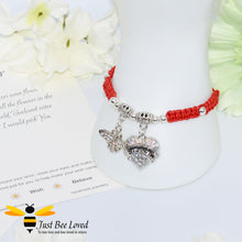 "Load image into Gallery viewer, handmade red Shamballa wish charm bracelet featuring a bee and love heart engraved with ""Sister"" with sentimental verse display card"