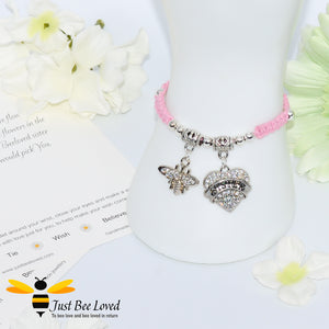 "handmade pink Shamballa wish charm bracelet featuring a bee and love heart engraved with ""Sister"" with sentimental verse display card"