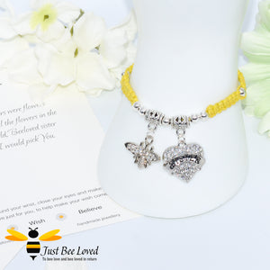 "handmade yellow Shamballa wish charm bracelet featuring a bee and love heart engraved with ""Sister"" with sentimental verse display card"