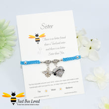 "Load image into Gallery viewer, handmade Shamballa wish charm bracelet featuring a bee and love heart engraved with ""Sister"" with sentimental verse display card"