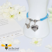 "Load image into Gallery viewer, handmade blue Shamballa wish charm bracelet featuring a bee and love heart engraved with ""Sister"" with sentimental verse display card"
