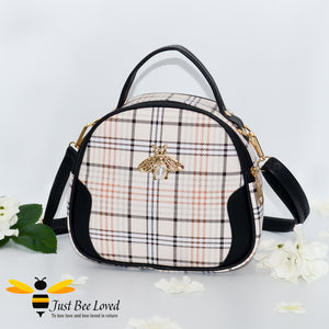 cream tartan pattern styled crossbody handbag with pearl bee embellishment in black