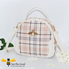 Load image into Gallery viewer, cream tartan pattern styled crossbody handbag with pearl bee embellishment in ivory