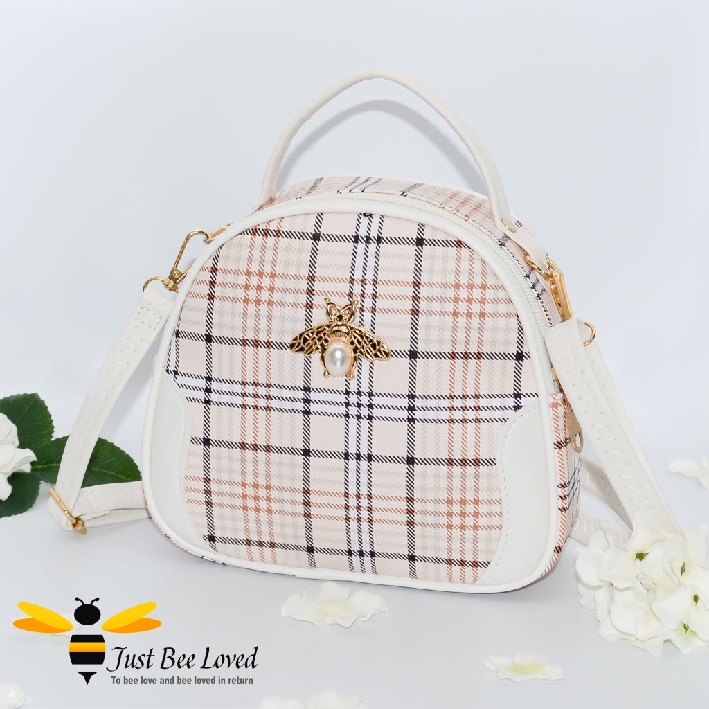 cream tartan pattern styled crossbody handbag with pearl bee embellishment in ivory