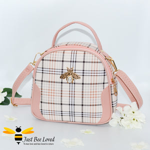 cream tartan pattern styled crossbody handbag with pearl bee embellishment in pink