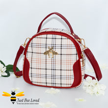 Load image into Gallery viewer, cream tartan pattern styled crossbody handbag with pearl bee embellishment in red