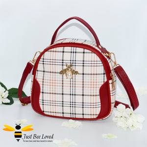 cream tartan pattern styled crossbody handbag with pearl bee embellishment in red