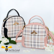 Load image into Gallery viewer, tartan pattern styled crossbody handbags with pearl bee embellishment