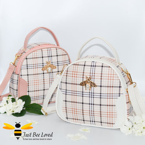 tartan pattern styled crossbody handbags with pearl bee embellishment