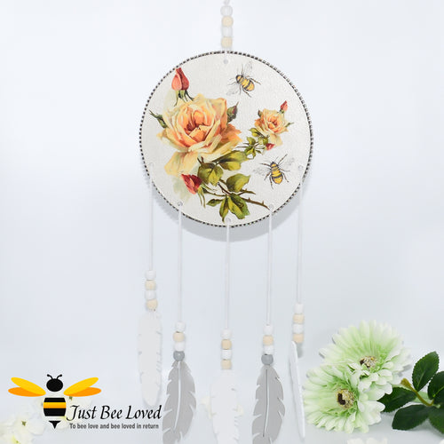 wooden feathered dream catcher; hand decoupaged with bees and yellow roses with matching wooden beads, trimmed with crystals
