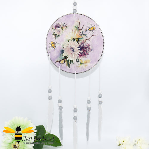 Handmade Bees & Flowers Purple Wooden Dream Catcher