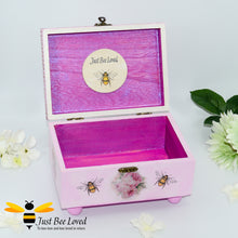 Load image into Gallery viewer, Hand decoupage wooden pink jewellery box decorated with bumblebees and flowers, embellished with pink crystals and pearls