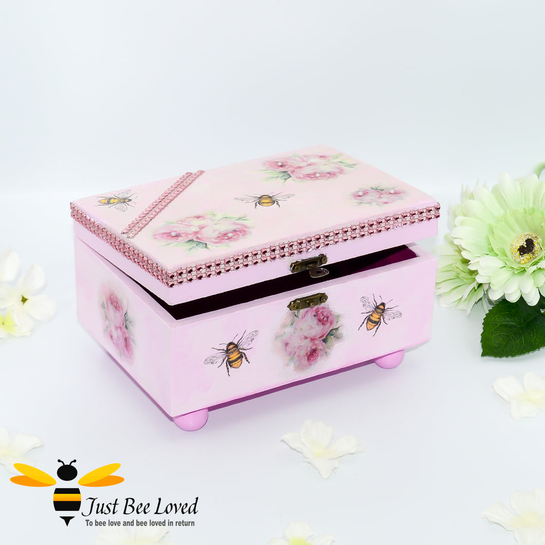 Hand decoupage wooden pink jewellery box decorated with bumblebees and flowers, embellished with pink crystals and pearls