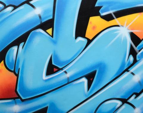"GRAFFITI ARTIST SEEN  -  ""Super S""  Aerosol on  Canvas"