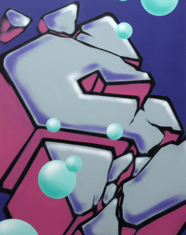 "GRAFFITI ARTIST SEEN  -  ""Block Buster Cracked S""  Aerosol on  Canvas"