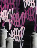"GRAFFITI ARTIST SEEN  -  ""Tags & Cans Blk""  Aerosol on  Canvas"