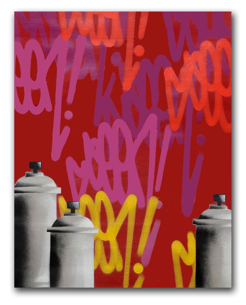 "GRAFFITI ARTIST SEEN  -  ""Tags & Cans Red""  Aerosol on  Canvas"