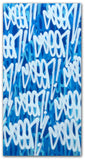 "GRAFFITI ARTIST SEEN  -  "" Blue Multi  Tags  - LARGE""  Aerosol on  Canvas"