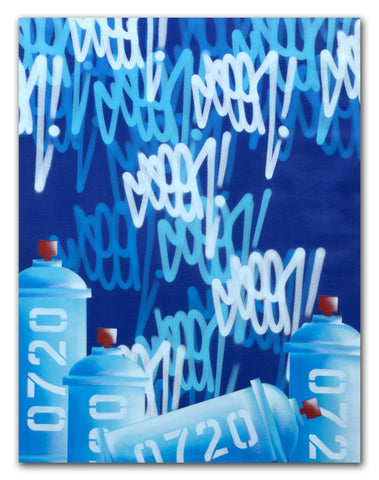 "GRAFFITI ARTIST SEEN  -  ""Tags & Cans 0720 Blue -LARGE""  Aerosol on  Canvas"