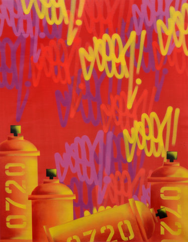 "GRAFFITI ARTIST SEEN  -  ""Tags & Cans 0720 Red -LARGE""  Aerosol on  Canvas"