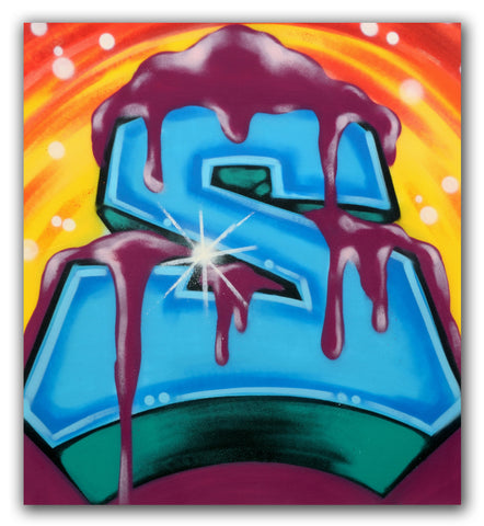 "GRAFFITI ARTIST SEEN  -  ""Frosted ""S""  Aerosol on  Canvas"
