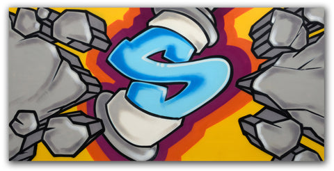 "GRAFFITI ARTIST SEEN  -  ""Exploding Can""  Aerosol on  Canvas"