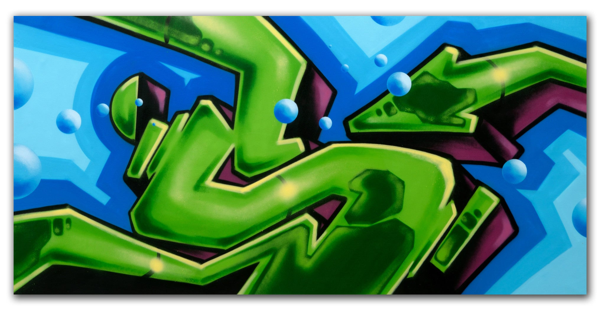 "GRAFFITI ARTIST SEEN  -  ""Untitled Green Long S""  Aerosol on  Canvas"