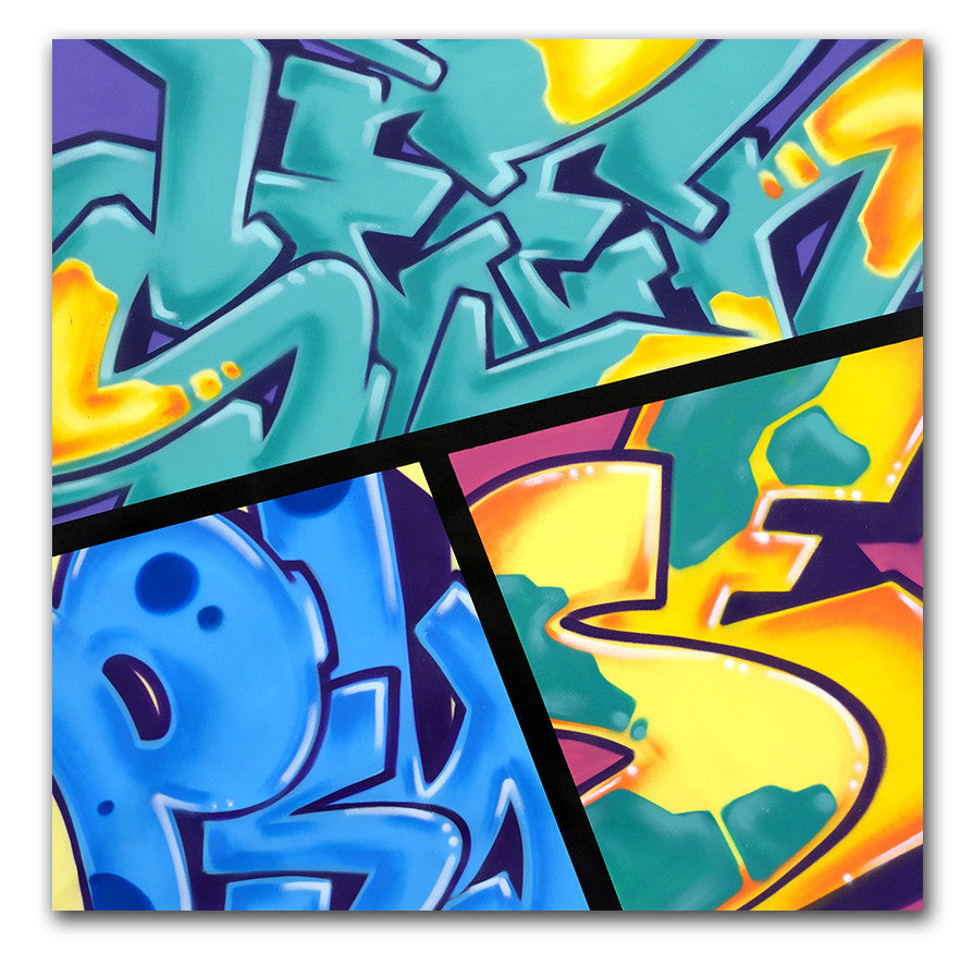 "GRAFFITI ARTIST SEEN -  ""Mix N Match""  Aerosol on Canvas"