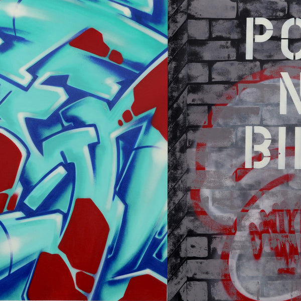 "GRAFFITI ARTIST SEEN  -  ""WildStyle-Post No Bills""  Aerosol on  Canvas"