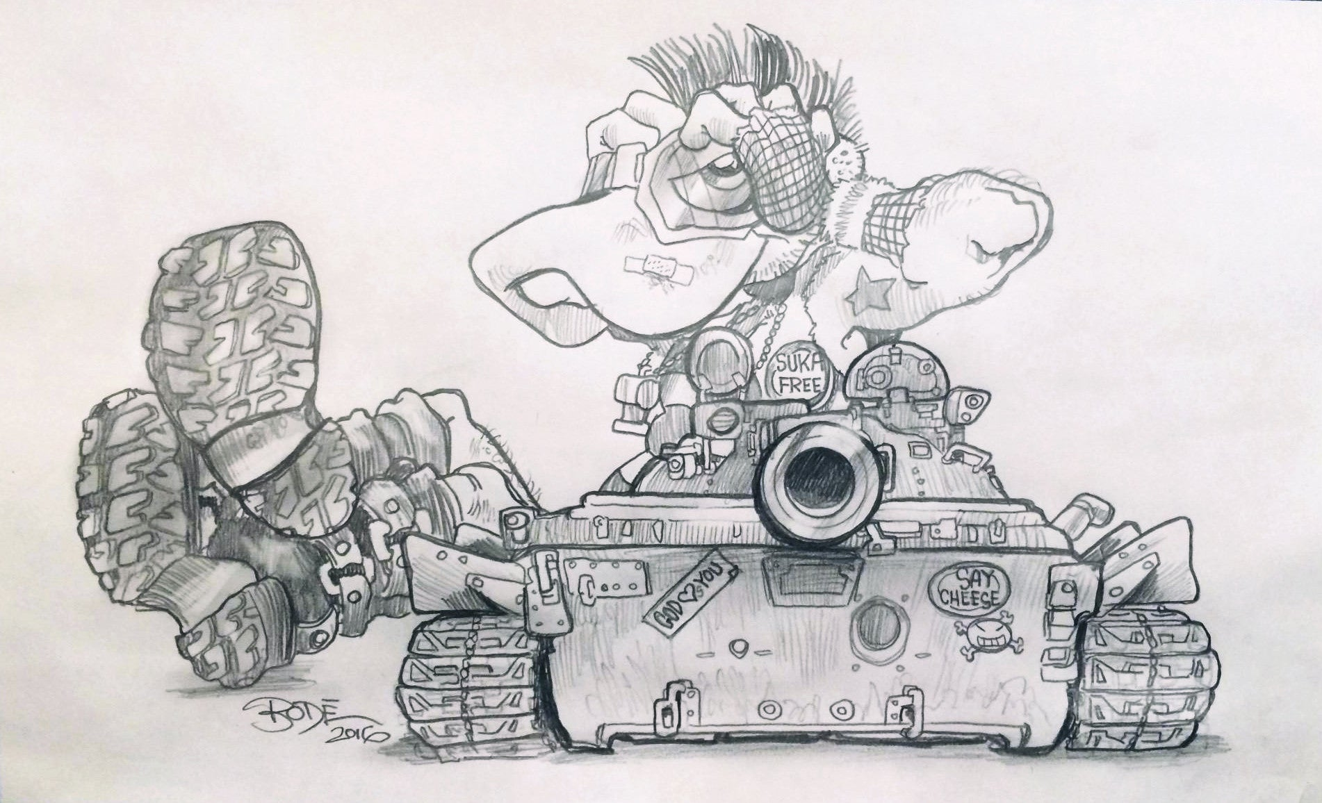 "MARK BODE  ""Tank Cheech "" Drawing"