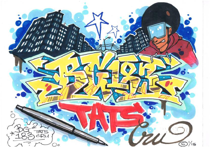 "BG 183 - Tats Cru  ""Untitled""  Black Book Drawing"