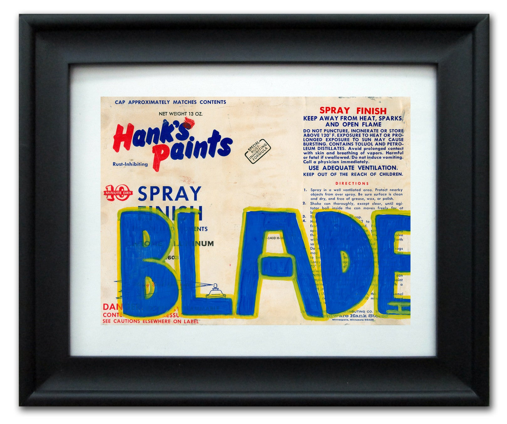 "BLADE  -  ""Hank's Paints"" Vintage Label"