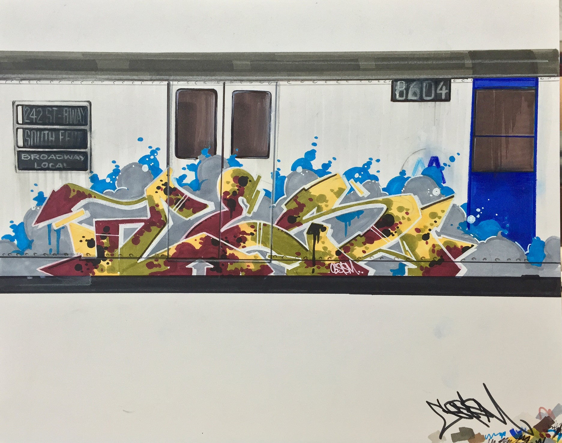 "CES ONE  ""Train"" BlackBook Drawing"