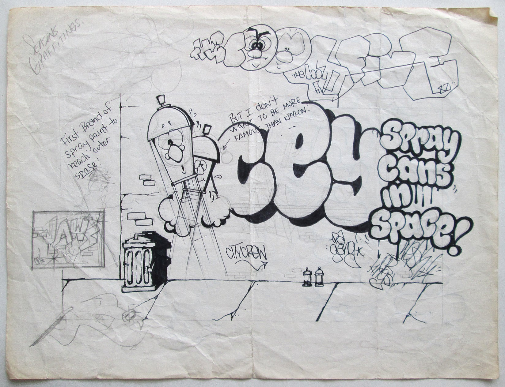"CEY -  ""Spray Cans in Space""  Drawing 1982"